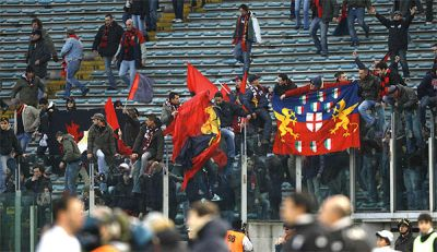 Genoa-fans in Stadio Olimpico after the victory against Lazio