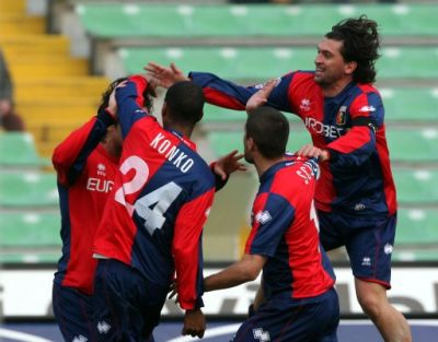 Borriello, Konko, Sculli and Milanetto celebrate one of the 5 goals