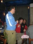 Hans thanks the organizers of the party: Luca and Federica