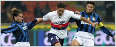 Marco Borriello can't be stopped by Maxwell and Zanetti