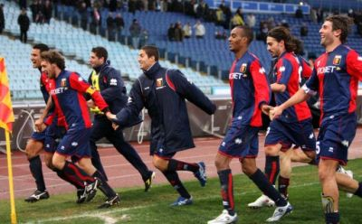 players thank the Genoani in Olimpico after the victory against Lazio