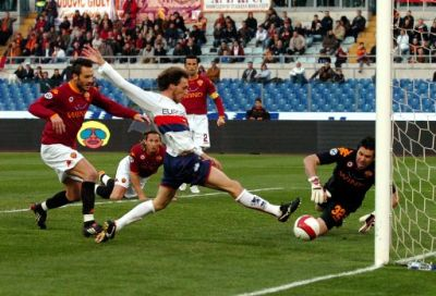 Marco Rossi scores the first Genoa-goal against A.S. Roma