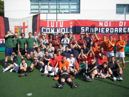 """all players and referee Piero of 1st edition of """"United in the name of Genoa"""""""