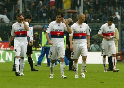 The players of Genoa after the last match against Atalanta