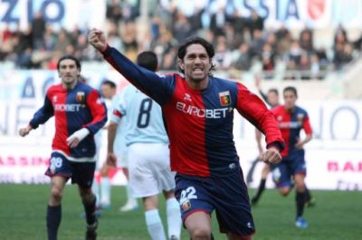 Borriello after one of his goals against Lazio