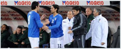 Marco Borriello as substitute of Luca Toni in his first international-match against Portugal