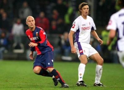 Lucho Figueroa in his first match with Genoa 28th October 2007 against Fiorentina