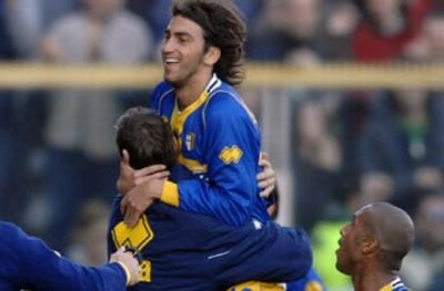 Andrea Gasbarroni after one of his 5 goals with Parma this season