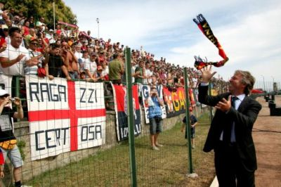 Genoa's president Enrico Preziosi at the first training of the season 08-09
