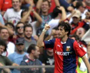 Diego Milito after his first goal of the season against Milan (2-0)