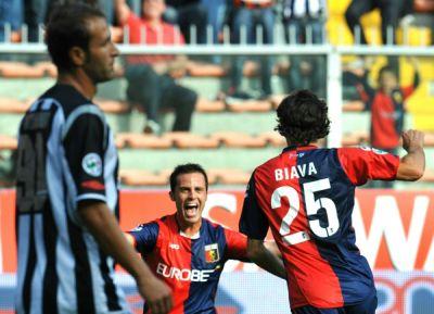 Biava celebrates his goal with Mesto