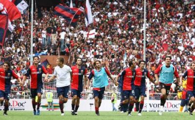Genoa celebrates the victory against A.C. Milan