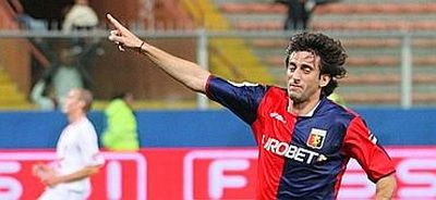 Diego Milito after one of his goals against Ravenna in Coppa Italia
