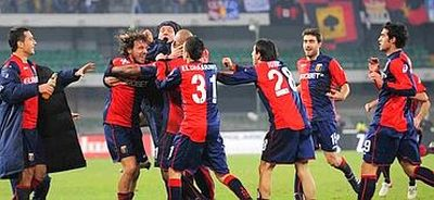 The players of Genoa celebrate the winning goal of Olivera against Chievo Verona