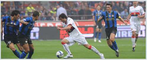 Diego Milito against Inter in San Siro