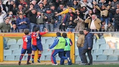 Giuseppe Sculli celebrates his goal together with Mimmo Criscito in front of the Main stand