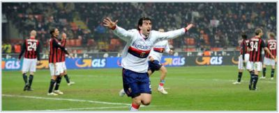 Diego Milito celebrates his equalizer in San Siro against A.C. Milan (1-1)