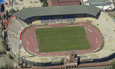 Stadio Renato Dall'Ara of Bologna (with red-marked visitors sector of Genoa-fans)