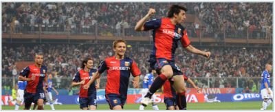 Diego Milito is happy during the derby