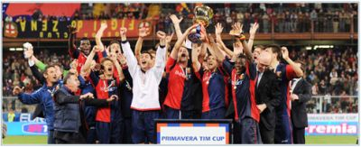 The Primavera-team shows the Coppa Italia after beating A.S. Roma in the final