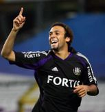 Anthony Vanden Borre celebrates a goal in the shirt of Anderlecht