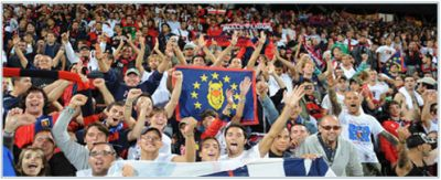 Genoa-fans celebrate the qualification after the play-off round against Odense BK