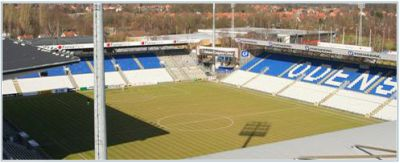 The stadium of Odense BK: Fionia Park, capacity: 15.761 spectators (800 in visitors-sector)