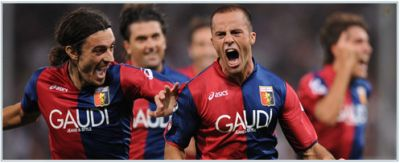 Giandomenico Mesto is happy after his first goal with Genoa