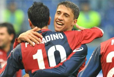 Hernan Crespo (2 goals) and Raffaele Palladino (1 goal) celebrate one of their goals against Siena