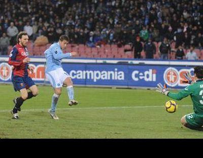 Amelia stops striker Denis of Napoli