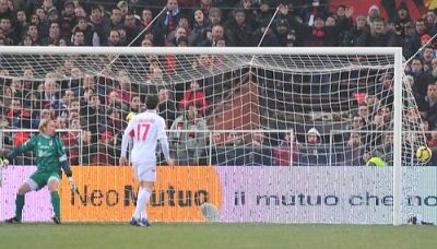 The free-kick goal of Omar Milanetto against Bari