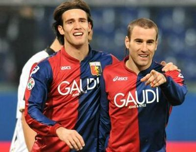 The goalscorers against Udinese: Robert Acquafresca and Rodrigo Palacio