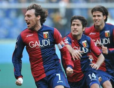 The joy after the goal of Rossi against Chievo Verona