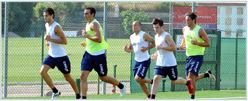 Genoa-players in training for the season 2010-2011, from left to right: Ranocchia, Dainelli, Kharja, Rudolf and Toni