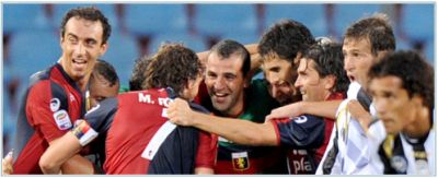 Genoa-players celebrate the goal of Mesto in Udine: 0-1
