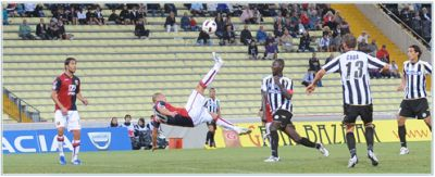 """Giandomenico """"Joey"""" Mesto scores with a bicycle-kick in the 81st minute"""