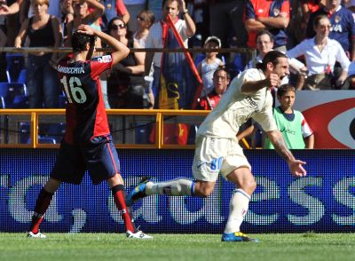 Moscardelli of Chievo Verona celebrates his equalizer while Ranocchia is not so happy