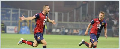 Giandomenico Mesto celebrates his goal against Fiorentina