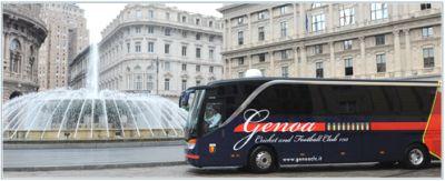 The playerscoach of Genoa at Piazza de Ferrari (Genova-centro)
