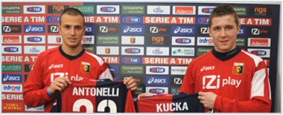 Luca Antonelli and Juraj Kucka are proud with their new shirts