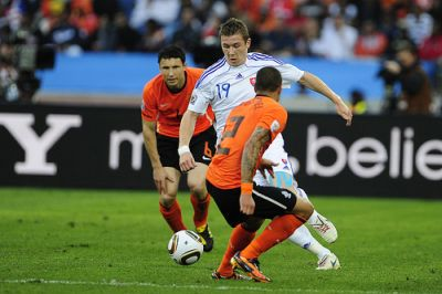 Juraj Kucka, strong (1.86, 84 kilo's) and talented (23 years old) midfieldplayer against Holland at World-cup