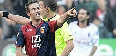 Antonio Floro Flores celebrates his first goal with Genoa against Milan, he scored before with Arezzo and Udinese against Milan