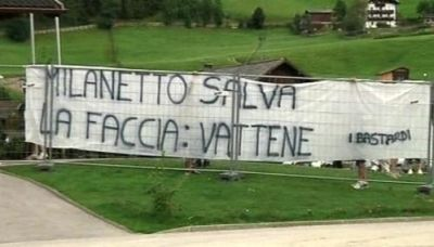 The flag against Milanetto on the trainingfield in Neustift (Austria)
