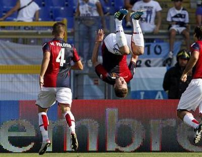 Kucka celebrates his first goal with Genoa: 1-2 Lazio-Genoa, 18-09-2011