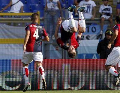 Kucka celebrates his first goal with Genoa: 1-2 Lazio-Genoa, 18-09-2011