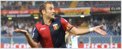 Rodrigo Palacio celebrates his goal against Catania