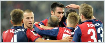 Andrea Caracciolo is the middle of the celebrations after a goal