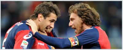 The goalscorers of Genoa-Bologna: Marco Rossi and Lucas Pratto