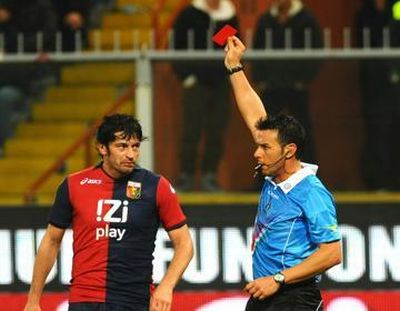 Kaladze receives his second yellow card and Ibrahimovic scores the following penalty, game over