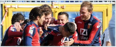 Celebrating players of Genoa after a goal we already miss for 3 matches